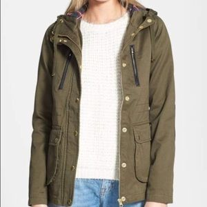 Topshop army green jacket with plaid lining hood